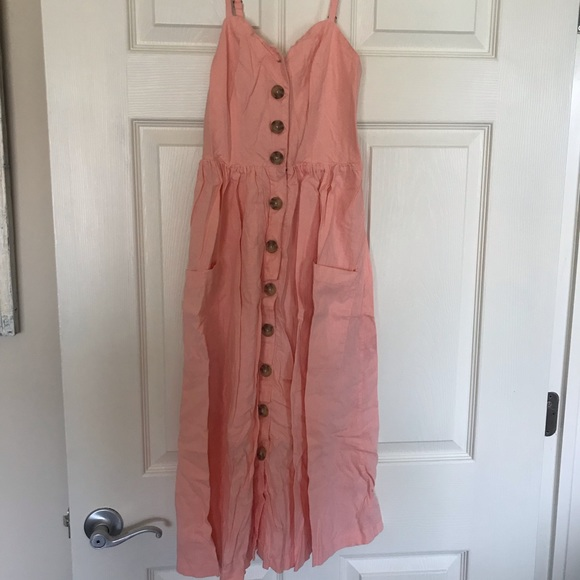 Urban Outfitters Dresses & Skirts - Urban outfitters Pink button up summer dress